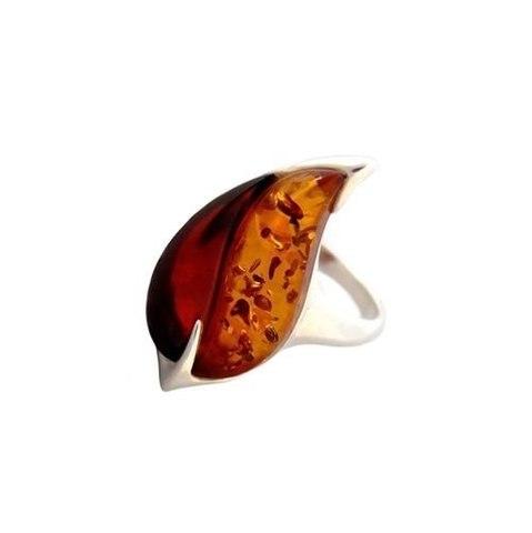 оригинальное кольцо из серебра с янтарем
