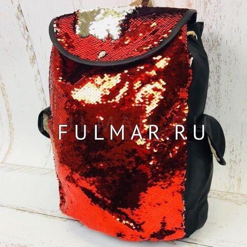 Рюкзак-мешок с пайетками красно-серебристый меняющий цвет