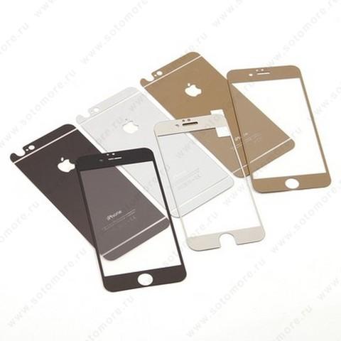 Стекло защитное SOTOMORE для Apple iPhone 4s/ 4 - толщина 0.26 mm в упаковке 2в1 зеркальные желтое желтое золото