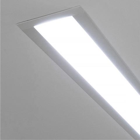 Линейный светодиодный встраиваемый светильник 78см 15Вт 6500К матовое серебро 100-300-78