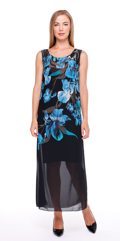 Платье З034-168 - Длинное платье из прозрачного шифона с глубокими разрезами по бокам и округлым вырезом. Яркий, цветочный принт на черном фоне смотрится эффектно и стильно. Подойдет как для повседневного образа, так и для торжественного мероприятия. В комплекте трикотажное, нижнее платье на бретелях.