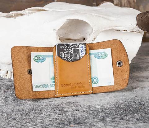 Коричневый кожаный маленький кошелек ручной работы