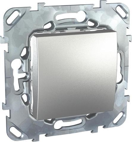 Выключатель кнопочный одноклавишный - Кнопка звонка - Выключатель без фиксации. Цвет Алюминий. Schneider electric Unica Top. MGU5.206.30ZD