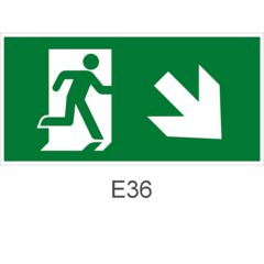 Направление к эвакуационному выходу направо вниз - знак эвакуационный Е36