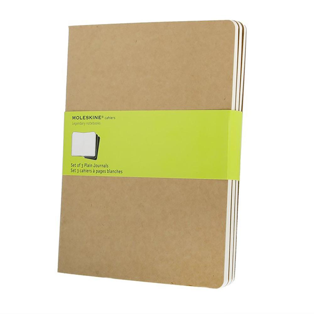 Набор 3 блокнота Moleskine Cahier Journal XL, цвет бежевый, без разлиновки 385203(QP423)