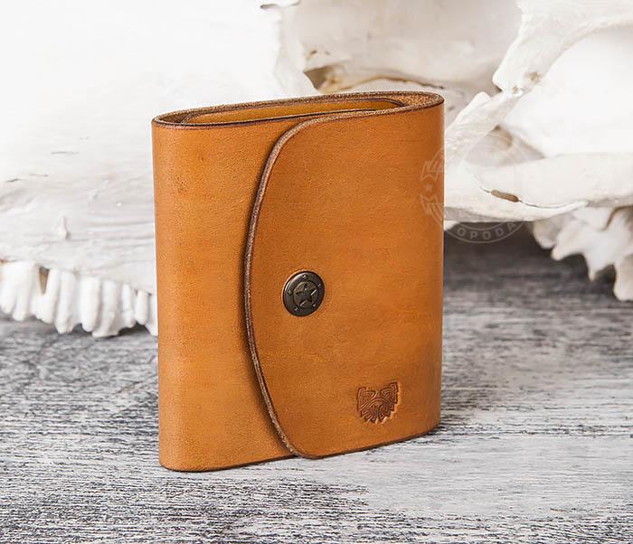 WB166-2 Коричневый кожаный маленький кошелек ручной работы фото 04