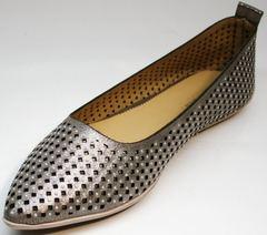 Балетки кожаные с перфорацией Kluchini 5218 k 365 Titan.