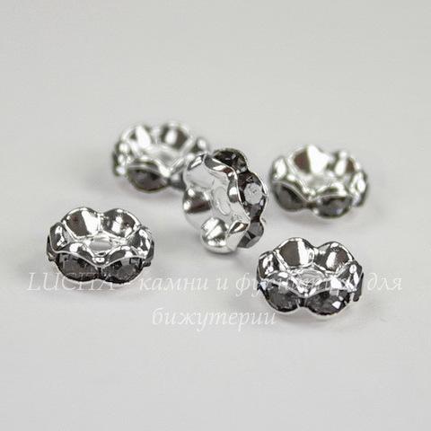 Бусина - рондель 8х4 мм с темно-серыми фианитами (цвет - серебро), 5 штук