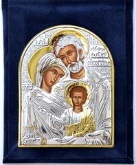 Святое семейство. Маленькая серебряная икона в бархатном футляре