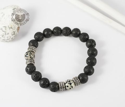 BS568 Мусжкой браслет из натурального камня (лава, яшма).