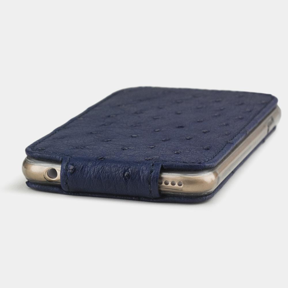 Чехол для iPhone 6/6S из натуральной кожи страуса, синего цвета