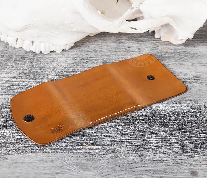 WB166-2 Коричневый кожаный маленький кошелек ручной работы фото 06