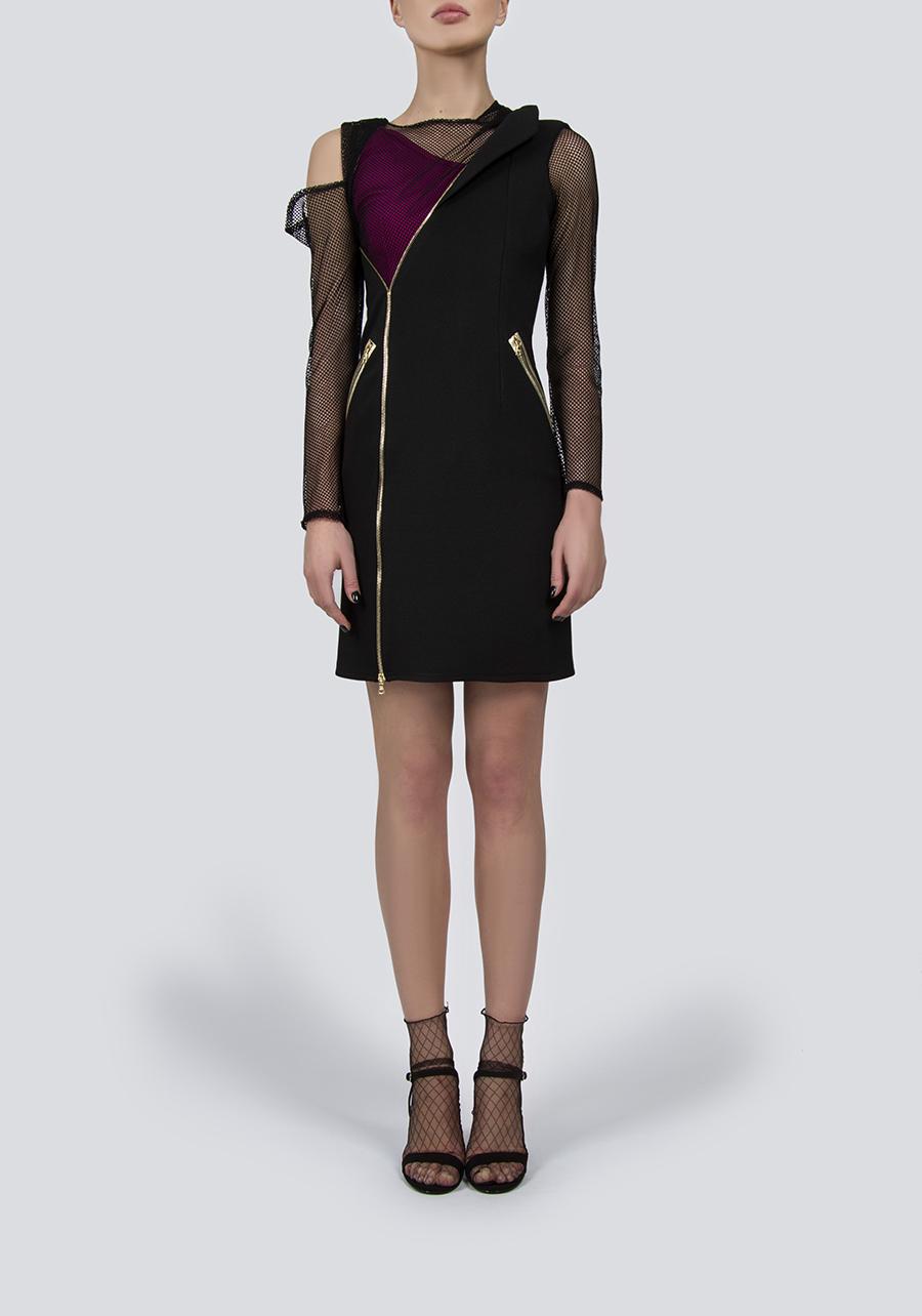 Платье-миди с перекрестием и рукавами из сетки, декорированное кожаными вставками