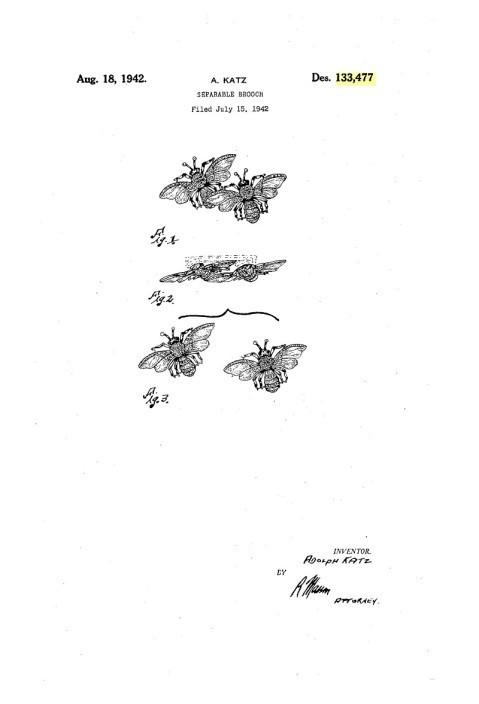 """Коллекционная брошь """"Пчёлы"""" из серии Дуэты Coro, 40-е гг."""