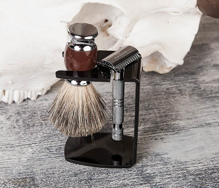 RAZ325-2 Подставка черного цвета из пластика для бритвы и помазка фото 04