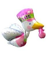 Фольгированный шар Аист розовый