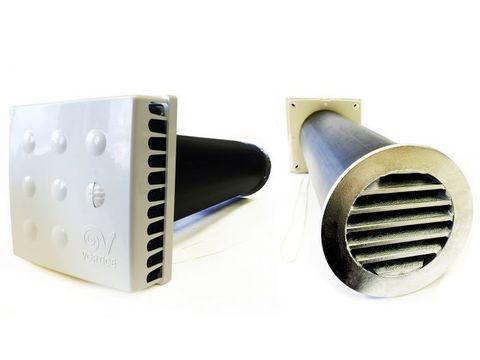 Приточный клапан KIV Quadro 125 1 м с алюминиевой решеткой