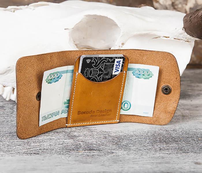 WB166-2 Коричневый кожаный маленький кошелек ручной работы фото 10