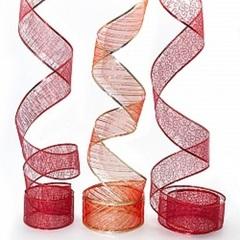 Лента декоративная, Органза, Красный, 1 шт.  (6 см*2,74 м)