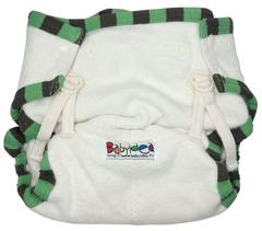 Пеленальные трусики на кнопках Babyidea Hour Extra Snap, Натуральный/Зеленый кант L/XL (80-92 см)