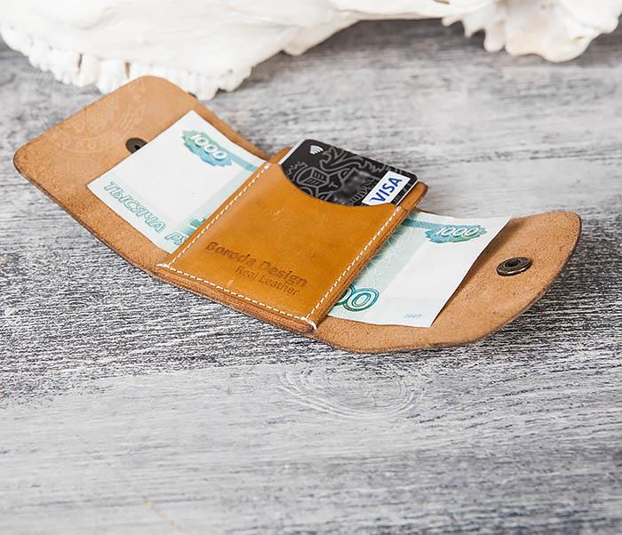 WB166-2 Коричневый кожаный маленький кошелек ручной работы фото 11