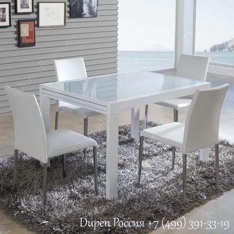 Обеденный стол DUPEN DT-10 Раскладной Белый, стулья DUPEN DC-101