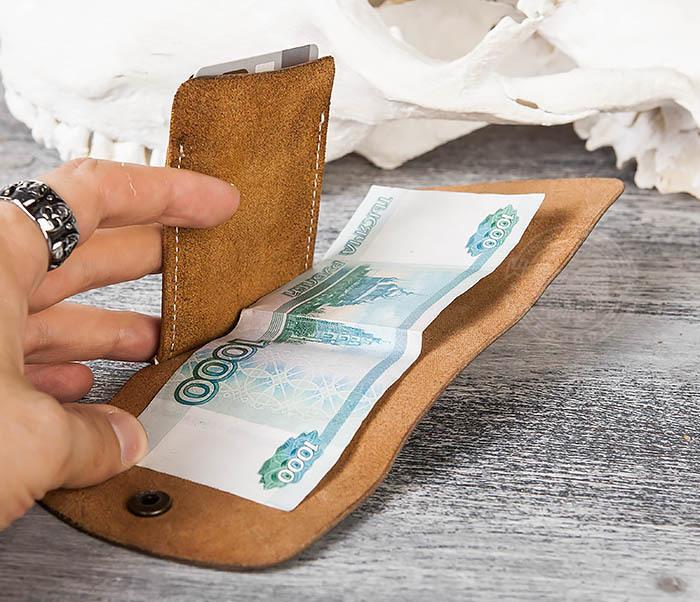 WB166-2 Коричневый кожаный маленький кошелек ручной работы фото 12