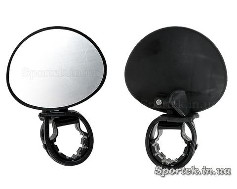 Зеркало заднего вида для велосипеда овальное (70х56 мм) на левую или правую сторону руля - пластик