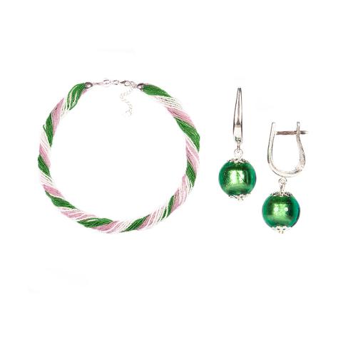 Комплект украшений розово-зеленый №1 (серьги-бусины, ожерелье из бисера 24 нити)