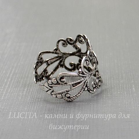 Основа для кольца с филигранью и площадкой 6 мм (цвет - античное серебро)