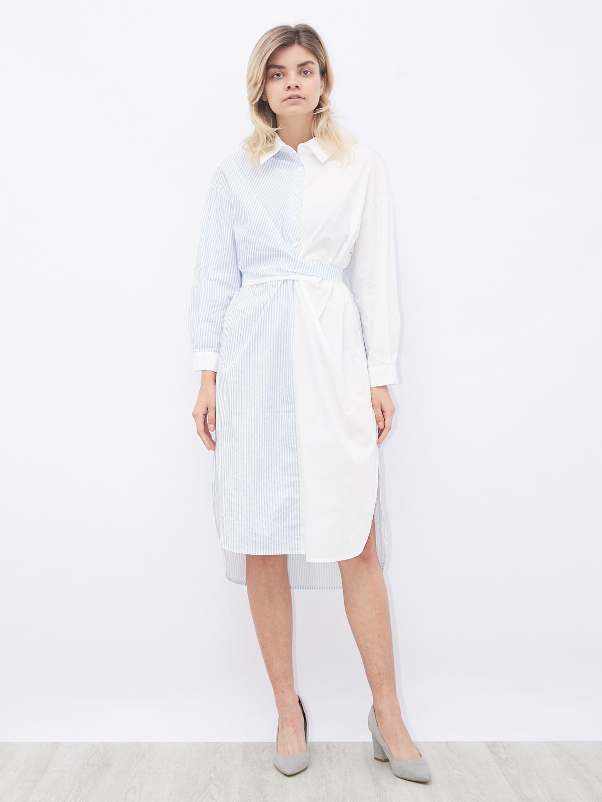 Платье комбинированное со вшитым поясом