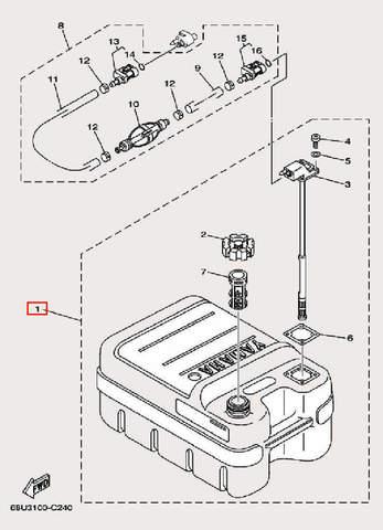Бак топливный для лодочного мотора F9,9 Sea-PRO (27-1)