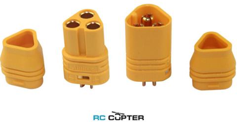 Нейлоновый разъём AMASS MT30 (папа-мама) для подключения мотора с кожухом для защиты провода от выдирания