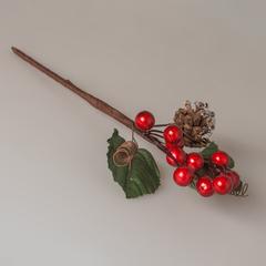 Веточка с ягодами и шишкой 25см, 21581