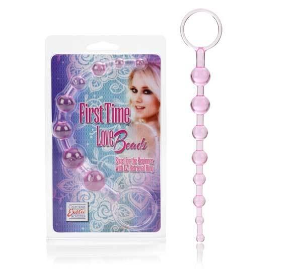 Анальные шарики, цепочки: Розовая анальная цепочка First Time Love Beads
