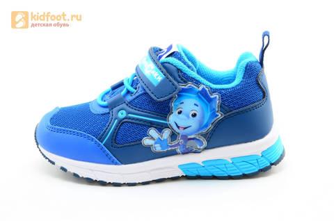 Светящиеся кроссовки для мальчиков Фиксики на липучках, цвет синий, мигает картинка сбоку. Изображение 3 из 15.