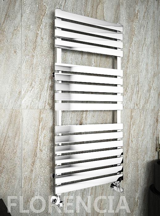 Florencia E - электрический дизайн полотенцесушитель с прямоугольными горизонталями белого цвета.