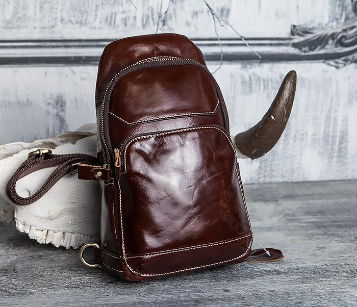 BAG421-2 Мужская сумка из шикарной кожи с одной лямкой фото 01