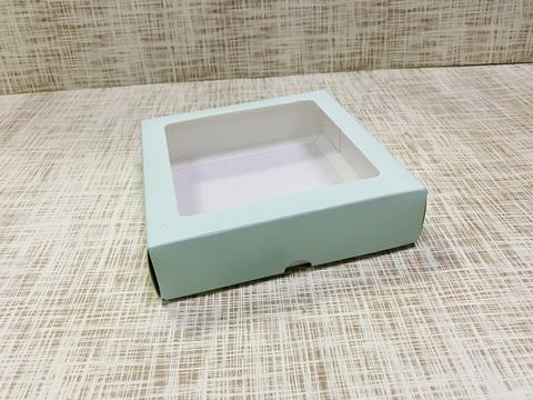 Коробка 14х14х3.5 см, картон, с окошком,