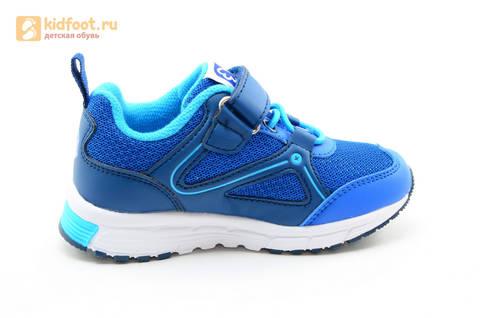 Светящиеся кроссовки для мальчиков Фиксики на липучках, цвет синий, мигает картинка сбоку. Изображение 4 из 15.
