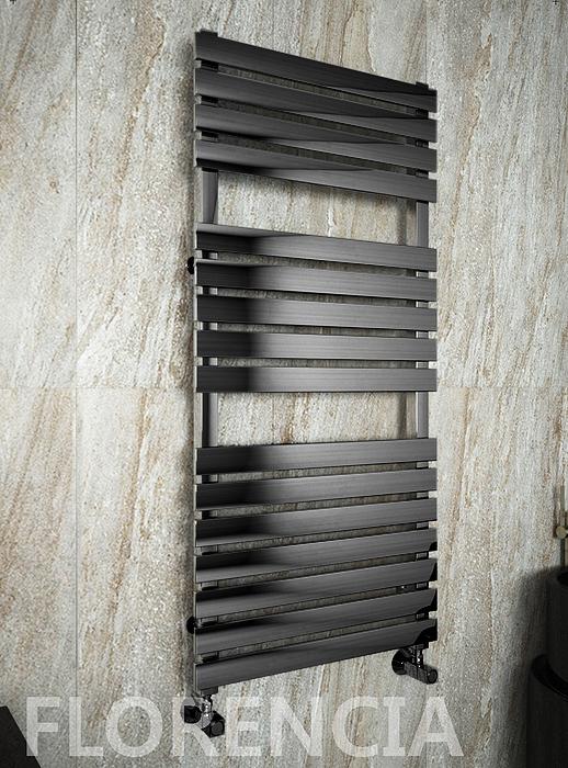 Florencia E - электрический дизайн полотенцесушитель с прямоугольными горизонталями черного цвета.