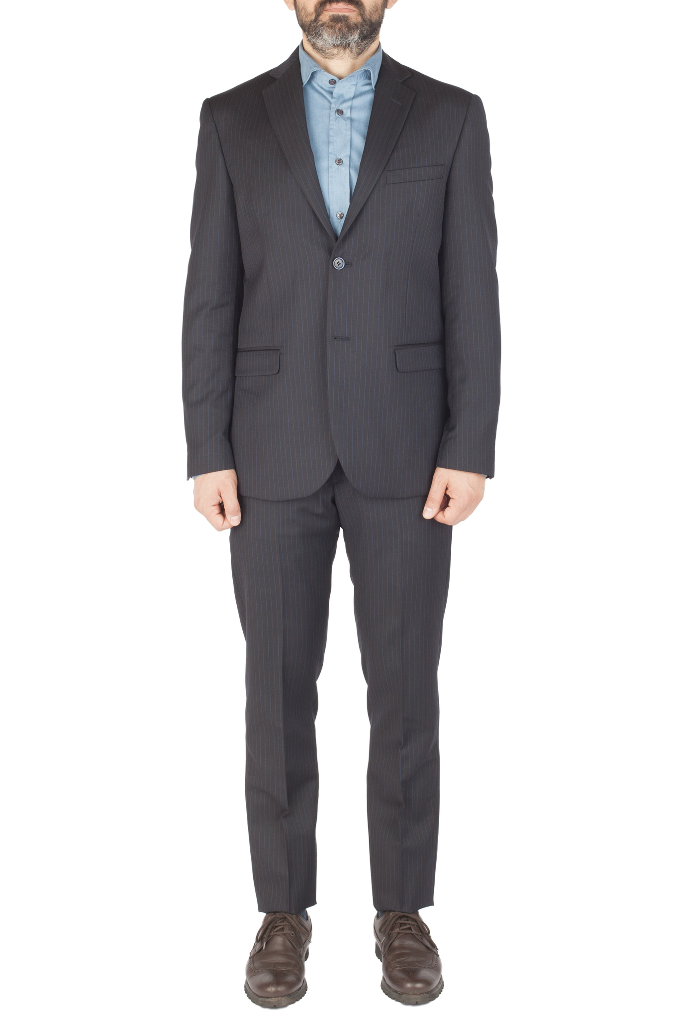Тёмно-синий костюм в полоску из 100%-ной шерсти