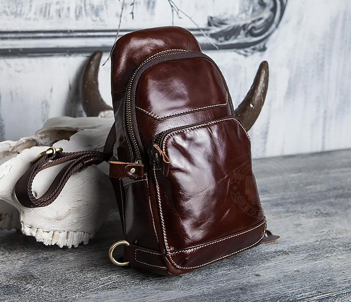 BAG421-2 Мужская сумка из шикарной кожи с одной лямкой фото 02