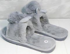 Меховые тапочки с ушками женские Yes Mile A-08 Gray