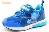 Светящиеся кроссовки для мальчиков Фиксики на липучках, цвет синий, мигает картинка сбоку. Изображение 1 из 15.