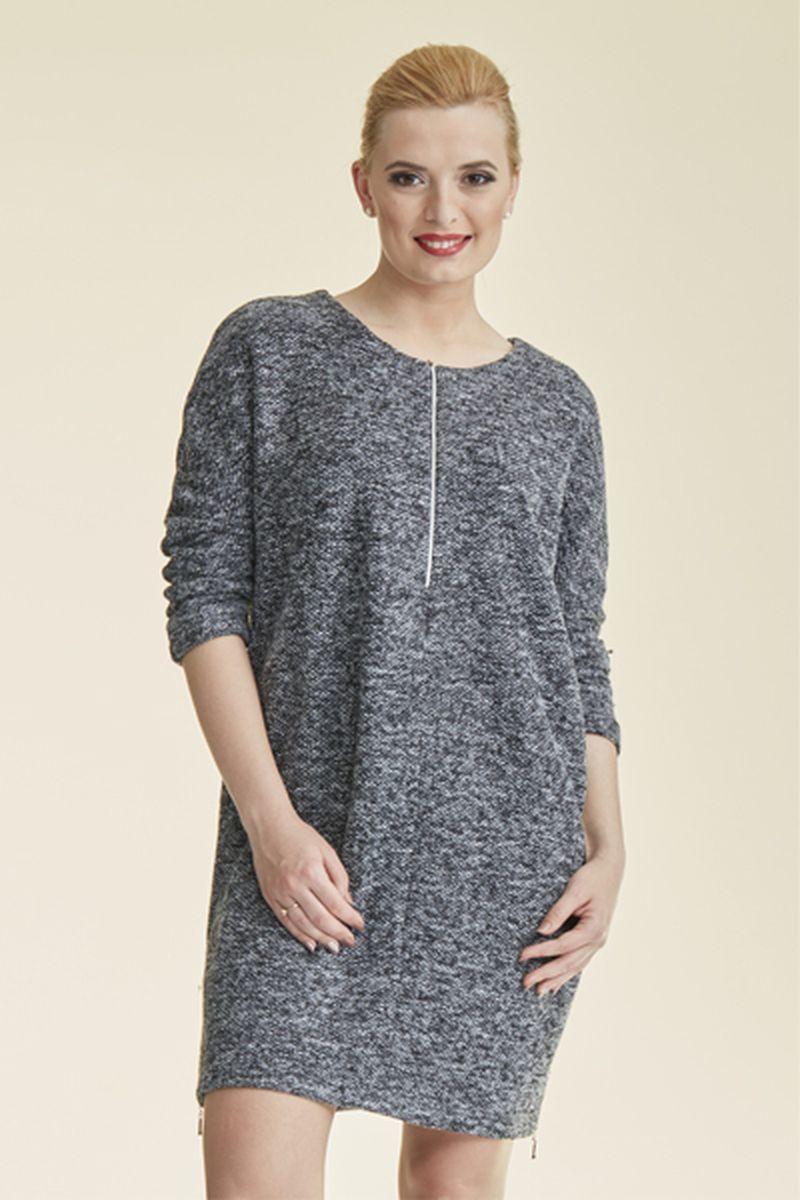 Платье для беременных и кормящих 08689 серый меланж
