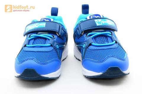 Светящиеся кроссовки для мальчиков Фиксики на липучках, цвет синий, мигает картинка сбоку. Изображение 5 из 15.