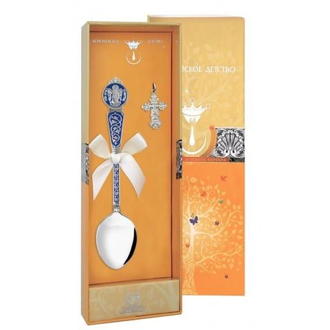 Набор крестильный «Ангел-Хранитель» с синей эмалью