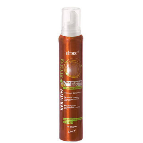 Витэкс Keratin Styling Пена для укладки волос с жидким кератином суперсильной фиксации 200 мл