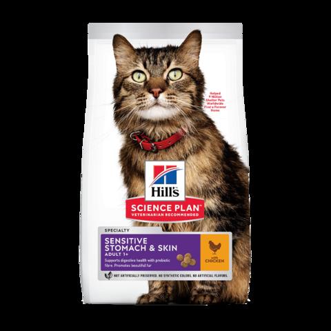 Hill's Science Plan Adult Sensitive Stomach & Skin Chicken Сухой корм для кошек с чувствительным пищеварением и кожей с Курицей